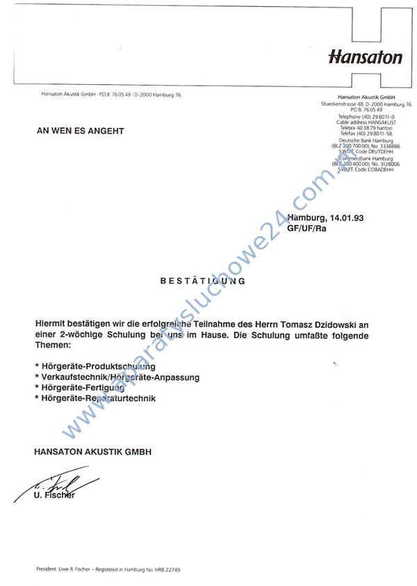 Certyfikat Hansaton